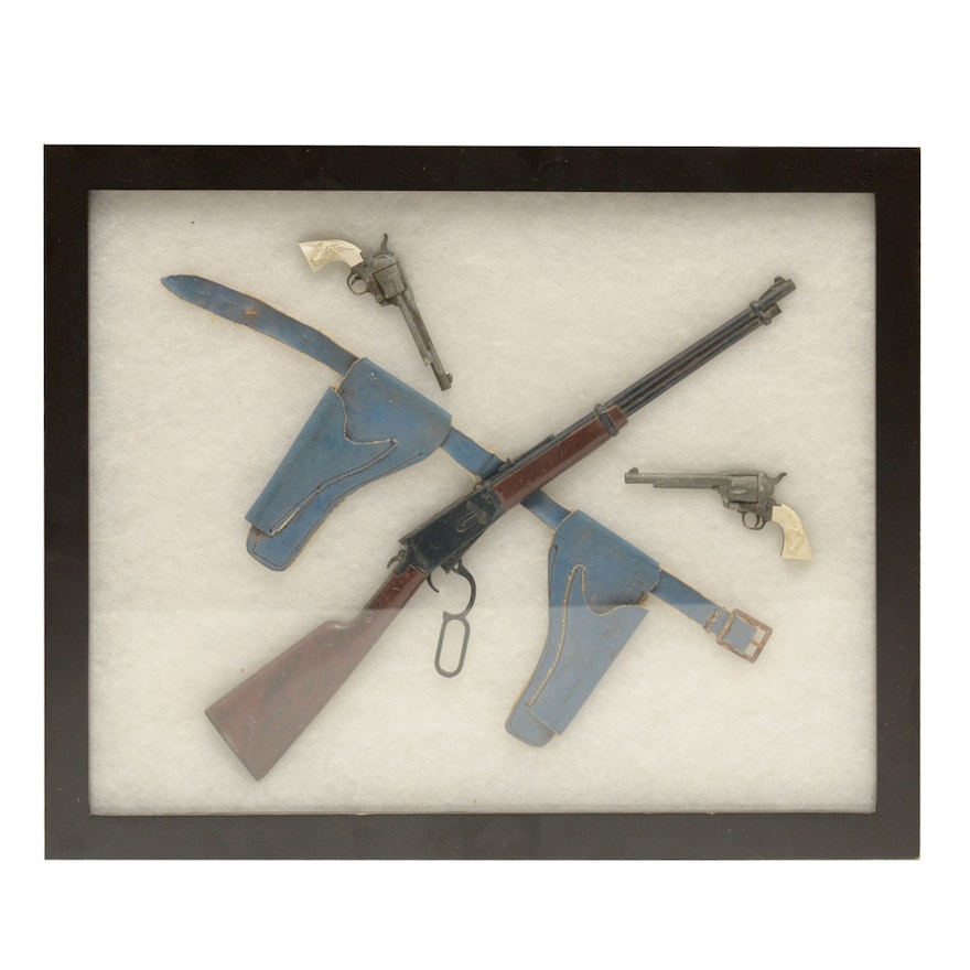 Vintage Miniature Toy Guns in a Shadow Box