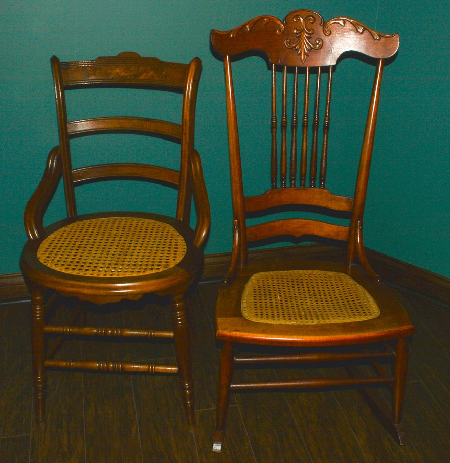 antique rocking chair and side chair with cane seats ebth. Black Bedroom Furniture Sets. Home Design Ideas