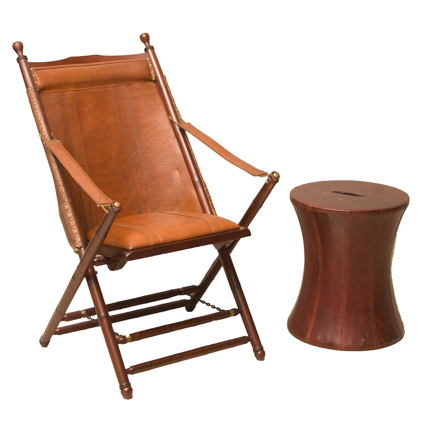 National Geographic Home Collection Folding Leather Chair ...