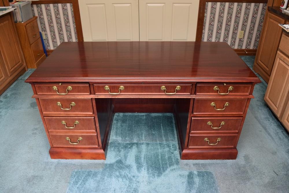 Mahogany Jasper Cabinet Company Executive Desk : EBTH