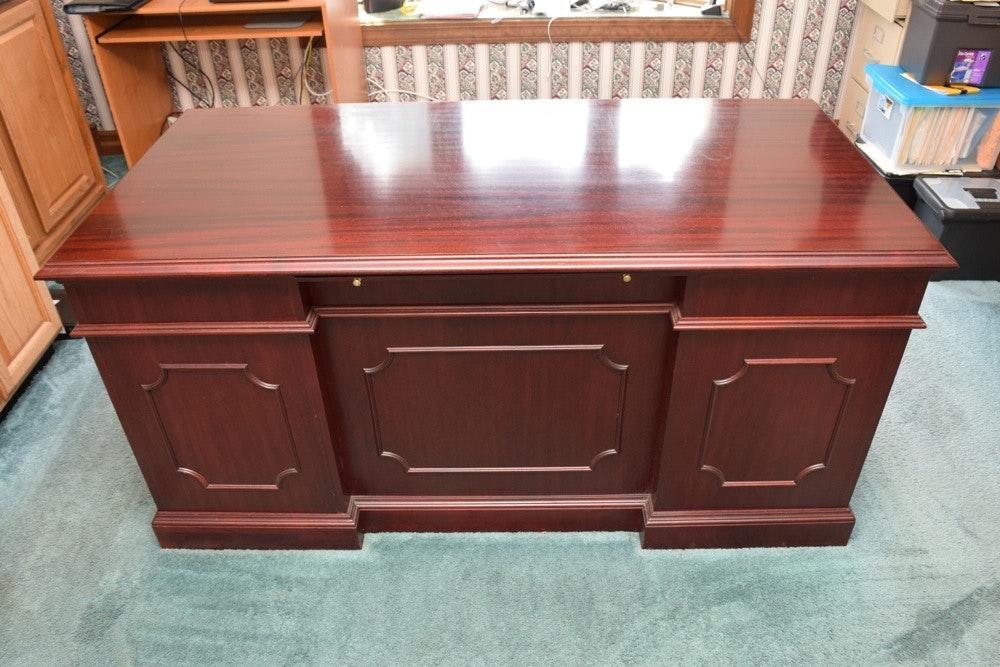 Mahogany Jasper Cabinet Company Executive Desk Ebth