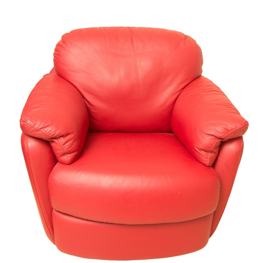 Awesome Natuzzi Red Leather Swivel Armchair Squirreltailoven Fun Painted Chair Ideas Images Squirreltailovenorg
