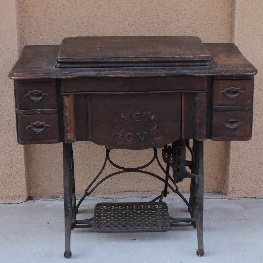 Antique New Home Sewing Machine Table EBTH Stunning New Home Sewing Machine Antique