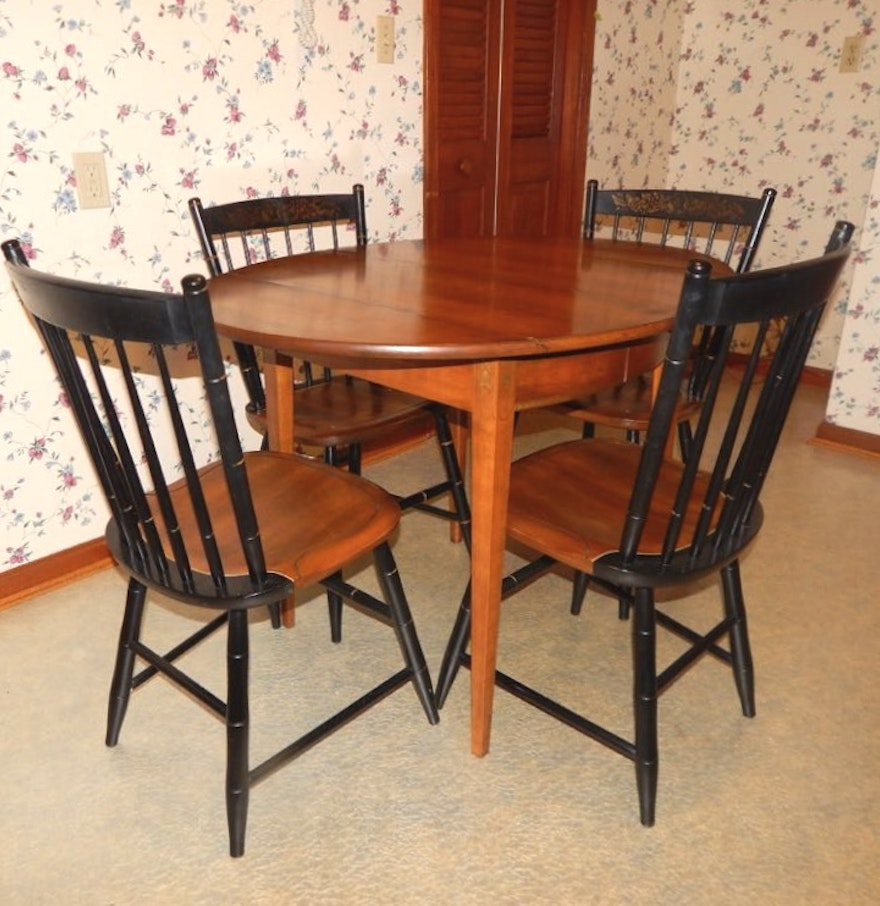 Hitchcock style drop leaf extension dining table and four for Drop leaf extension table