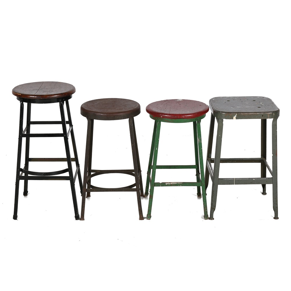 Four Industrial Style Bar Stools ...