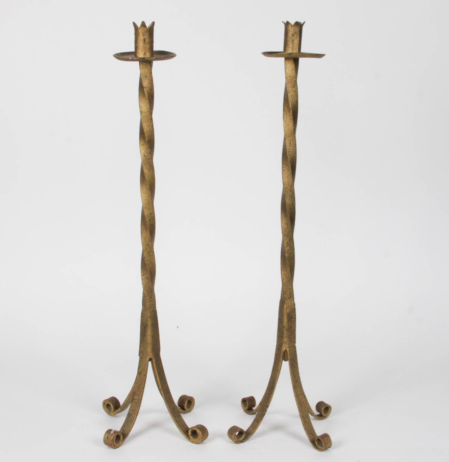 Tall wrought iron candle holders - Pair Of Tall Wrought Iron Candle Holders