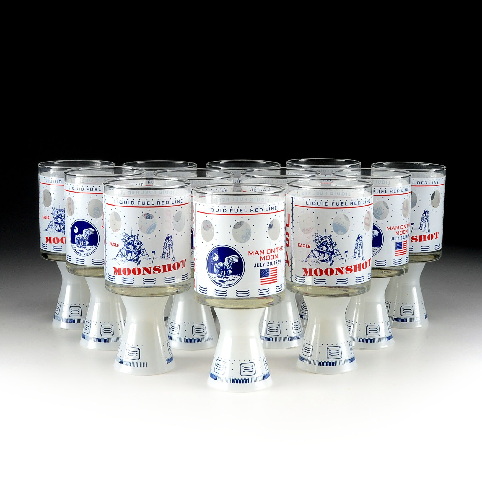 Set of Twelve Commemorative Moonshot Man on the Moon Double Ended Glasses