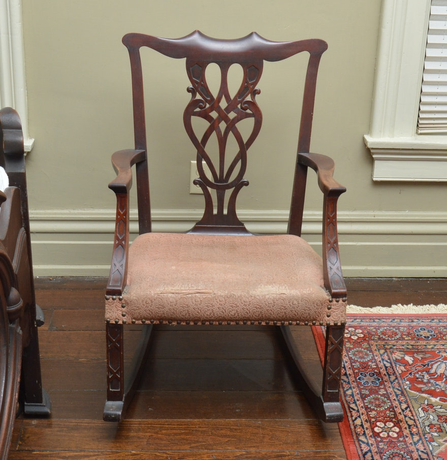 Antique Rocking Chair Styles ~ Antique chippendale style rocking chair ebth