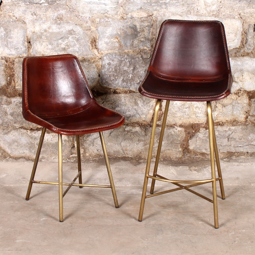 Pair Of Whip Stitched Leather Bucket Chairs