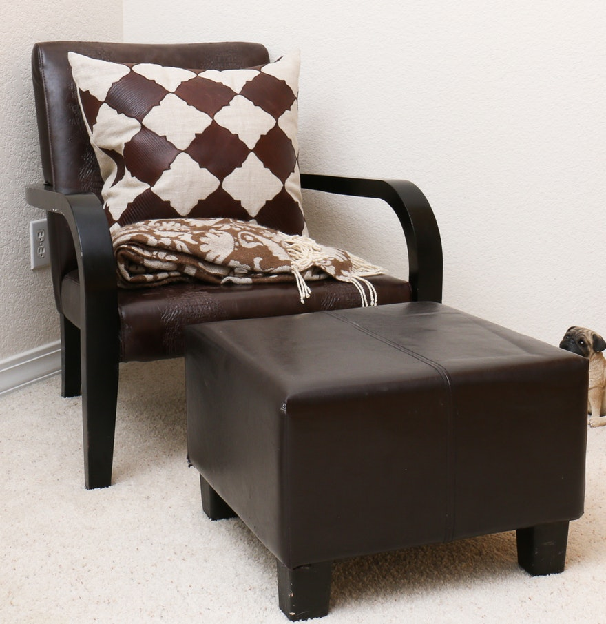 Leather armchair and ottoman with accessories ebth for Armchair with ottoman