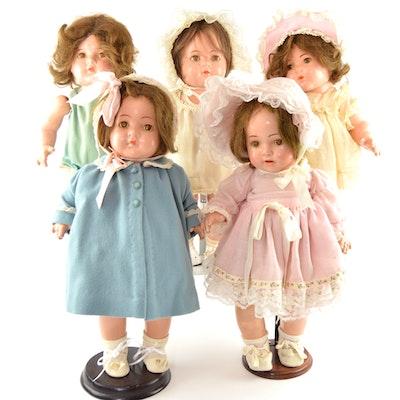 1930s Madame Alexander Composition Dionne Quintuplet Toddler Dolls
