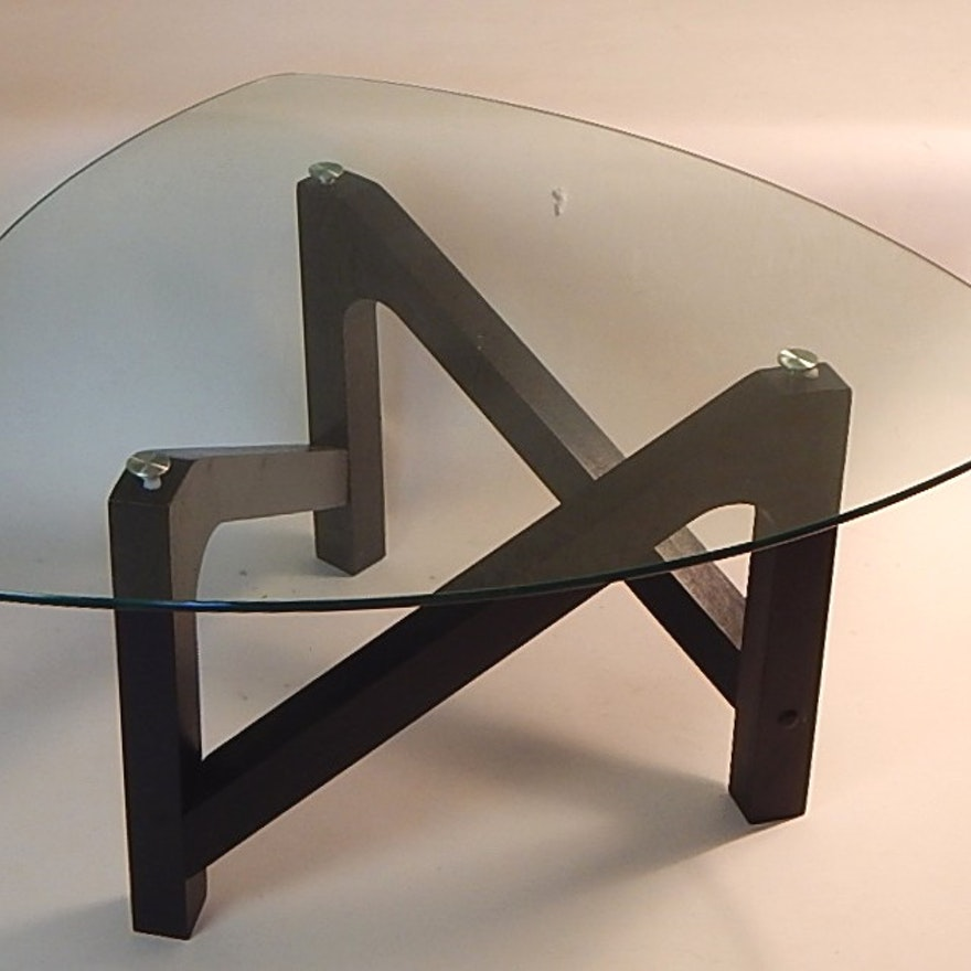 Contemporary Noguchi Inspired Glass Top Coffee Table Ebth