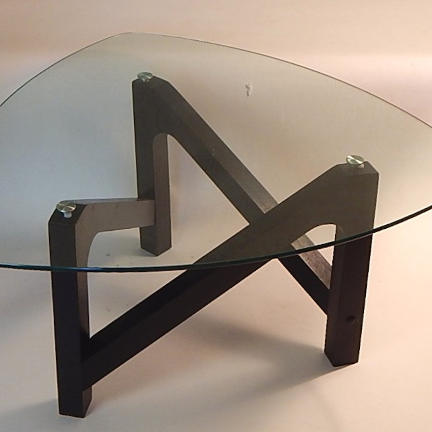 Contemporary Noguchi Inspired Glass Top Coffee Table EBTH - Noguchi inspired coffee table