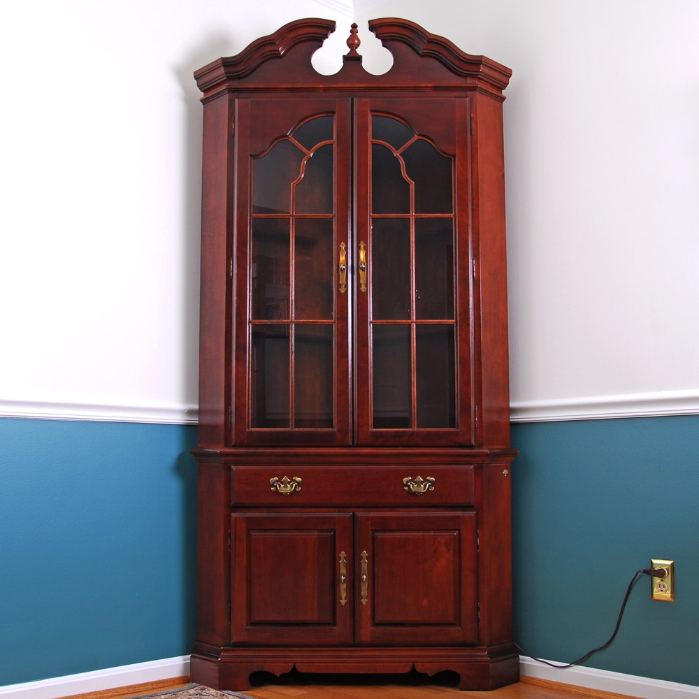 American Drew Cherry Corner Display Cabinet Ebth Rh Com