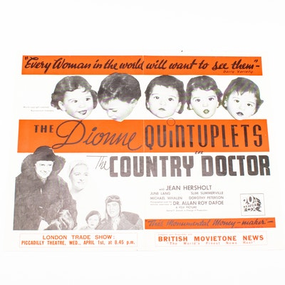 """Vintage Kinemetograph Weekly March 26, 1936 Ad Featuring the Dionne Quintuplets in """"The Country Doctor"""""""