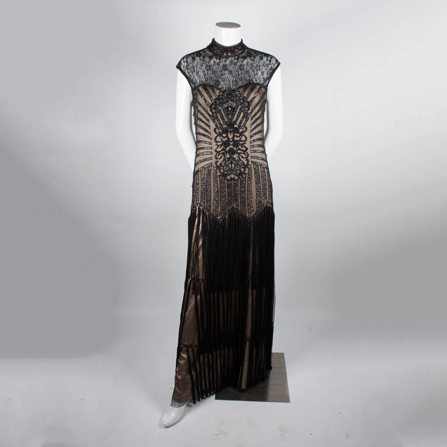 Beaded Sue Wong High Illusion Neck Gown, Size 4 : EBTH