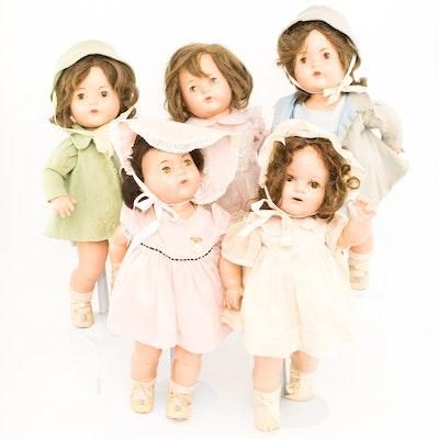 Group of Five Large Madame Alexander Dionne Quintuplet Dolls