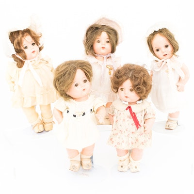Adorable Collection of Five Vintage Madame Alexander Dionne Quintuplet Dolls