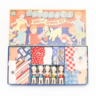 Vintage Quintuplets Sewing Set with Dolls by American Toy Works