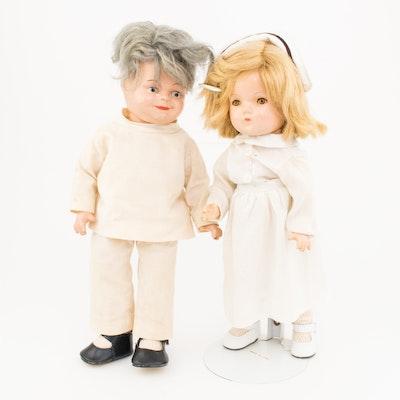 1930s Composition Dionne Quintuplets' Nurse and Dr. Dafoe Dolls