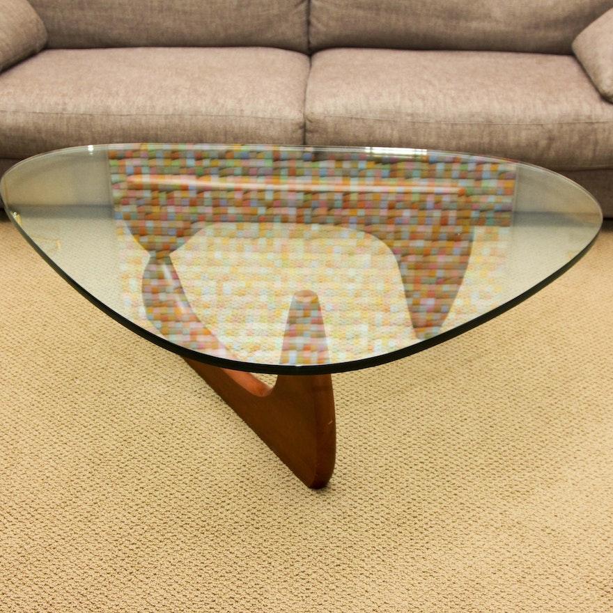 Noguchi Glass and Wood Coffee Table