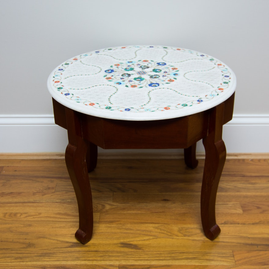 Pierced Marble Top Side Table With Inlaid Precious And Semi