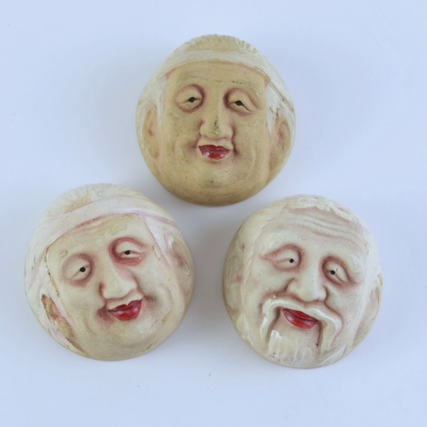 Antique Japanese Porcelain Noh Mask Sake Cups (3)