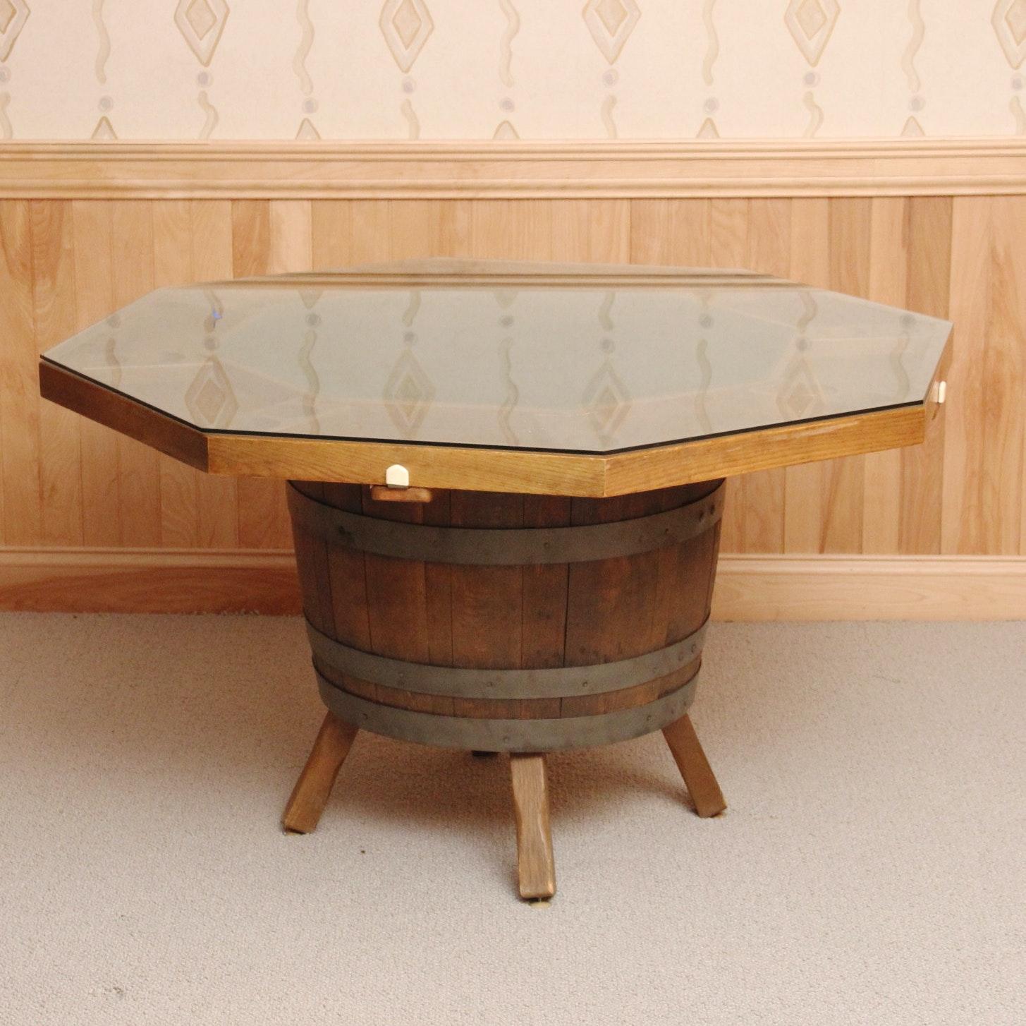 Amazing Vintage Whiskey Barrel Base Poker Table ...