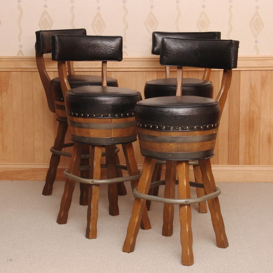 Brilliant Set Of Four Vintage Whiskey Barrel Barstools Pdpeps Interior Chair Design Pdpepsorg