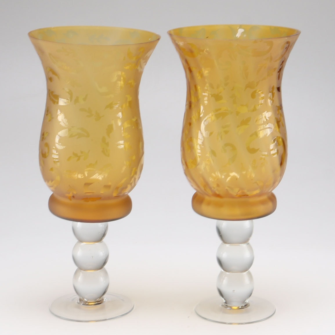 Pair of Hurricane Glass Pedestal Vases