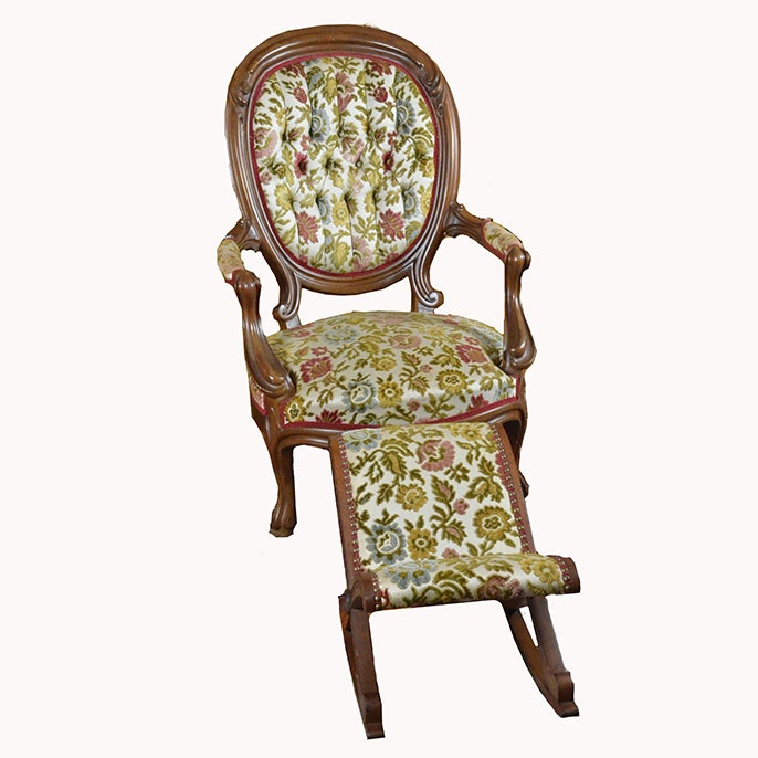 Late 19th Century Victorian Parlor Chair and Footrest