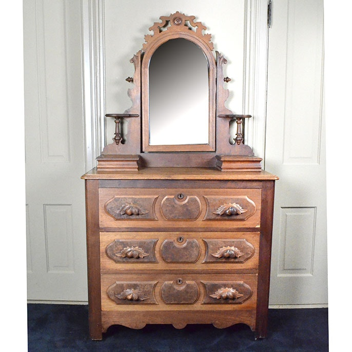 Late 19th Century Victorian Vanity with Mirror