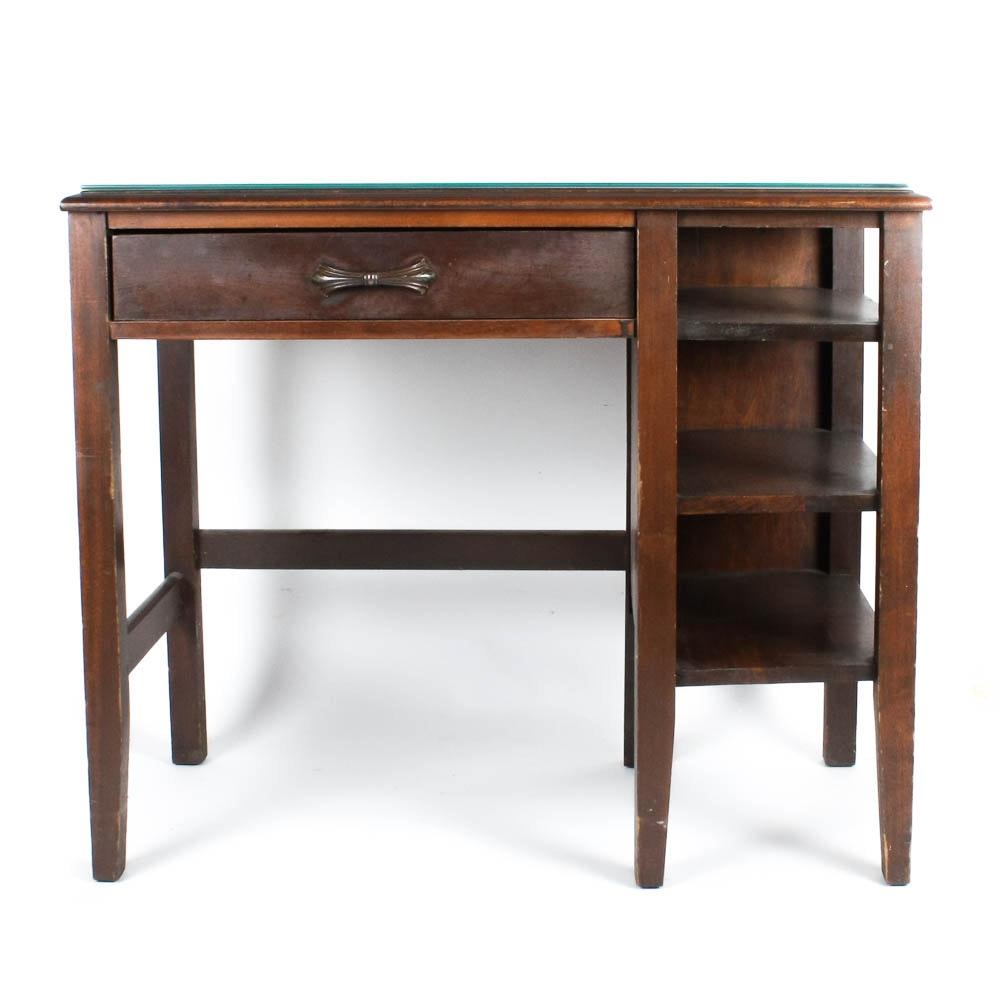 Vintage Walnut Desk With Side Shelves Ebth