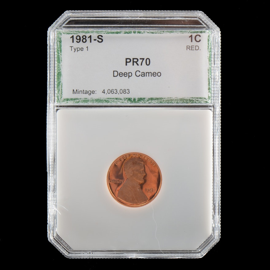 Graded PR70 Deep Cameo (By PCI) 1981 S Lincoln Memorial Penny Proof Coin