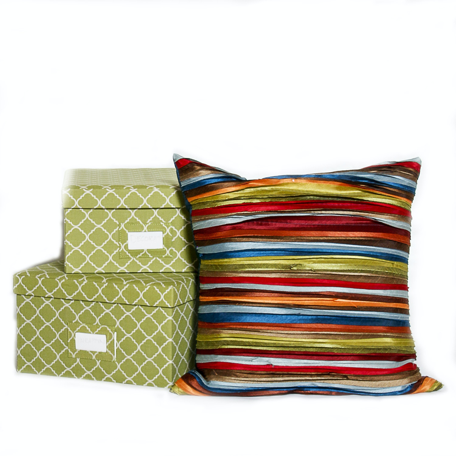 Cloth Storage Boxes With A Decorative Throw Pillow ...