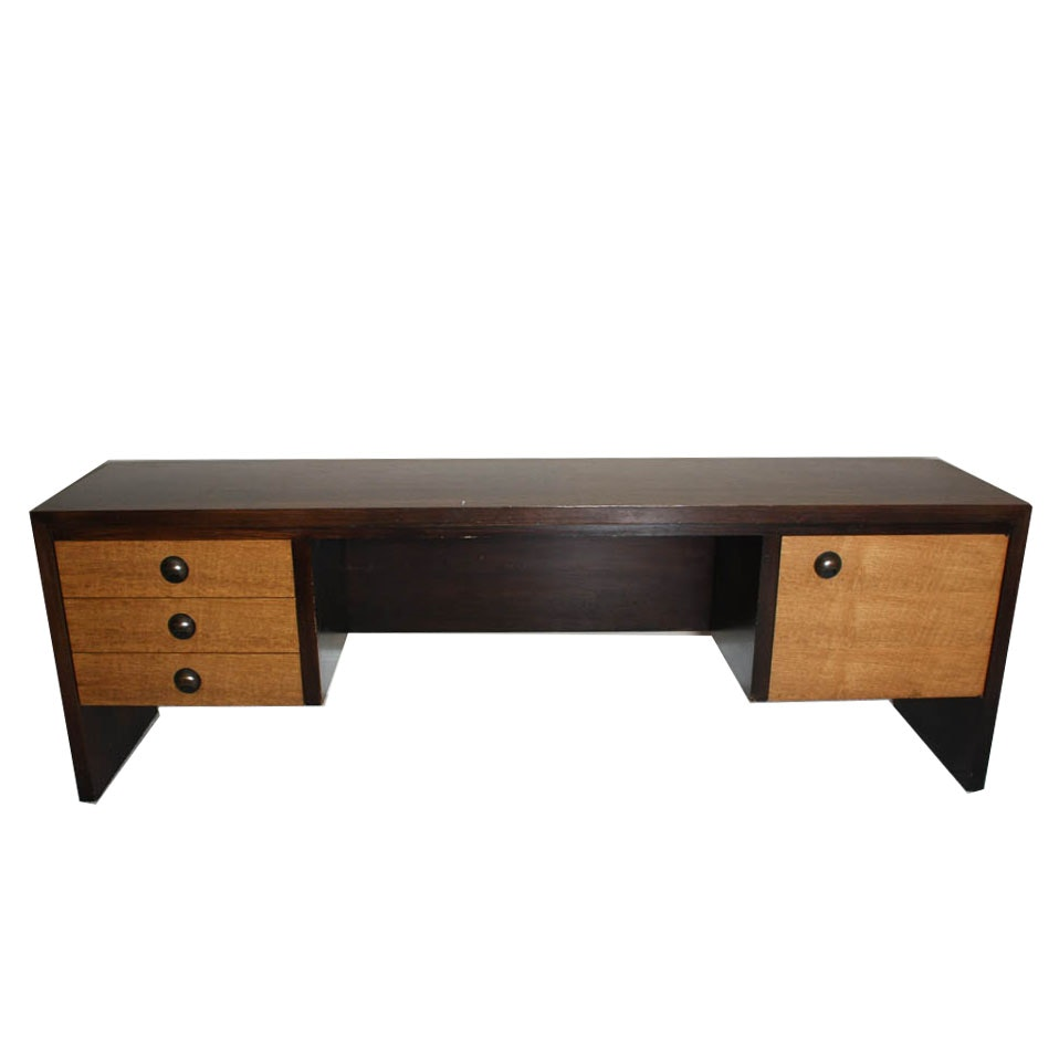 Mid Century Modern Rosewood And Oak Office Credenza By Dunbar ...