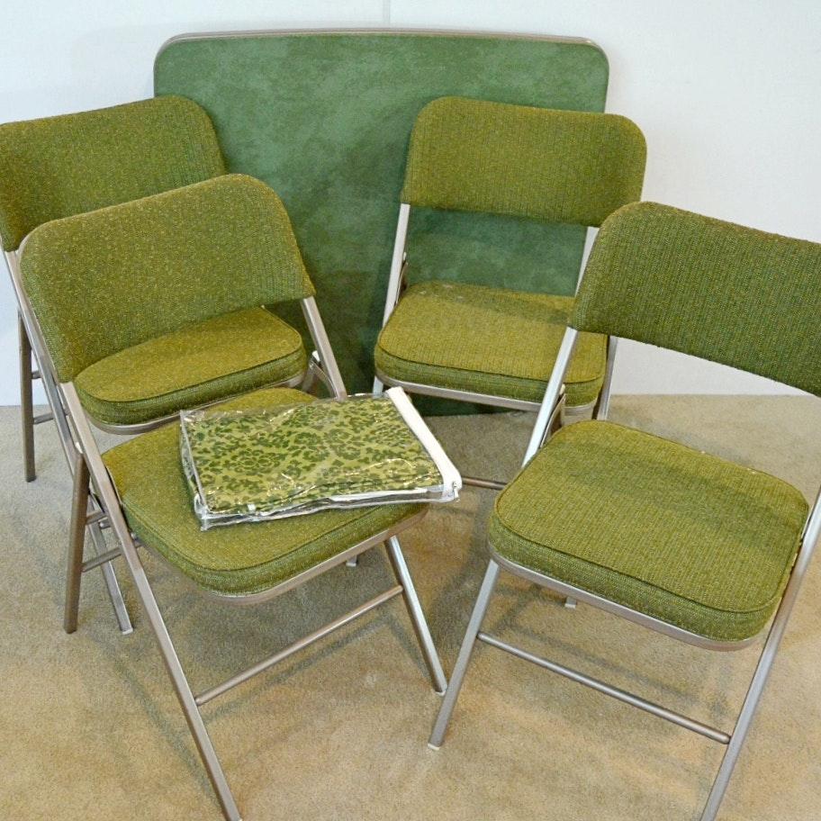 Vintage Samsonite Green Card Table and Four Folding Chairs EBTH