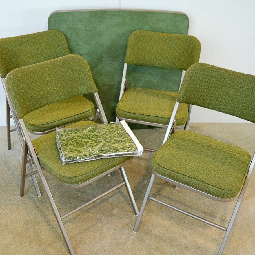 Super Vintage Samsonite Green Card Table And Four Folding Chairs Cjindustries Chair Design For Home Cjindustriesco