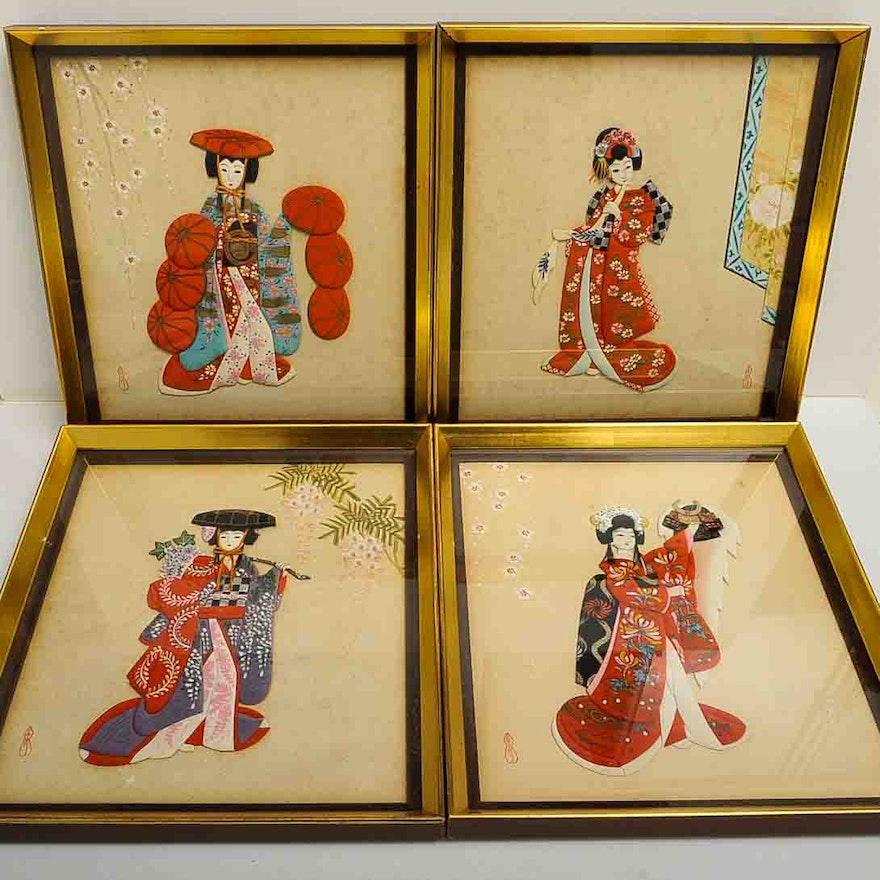 Japanese Fabric Wall Art : EBTH
