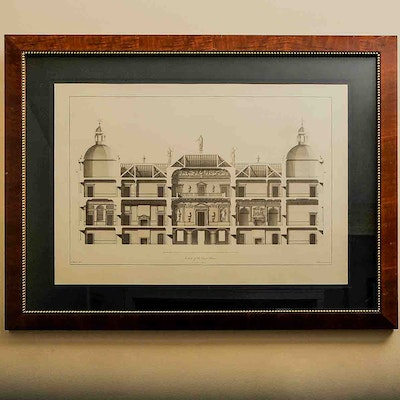Vintage art prints art print auctions lithographs for sale in section of the east front castle blueprint engraving malvernweather Gallery