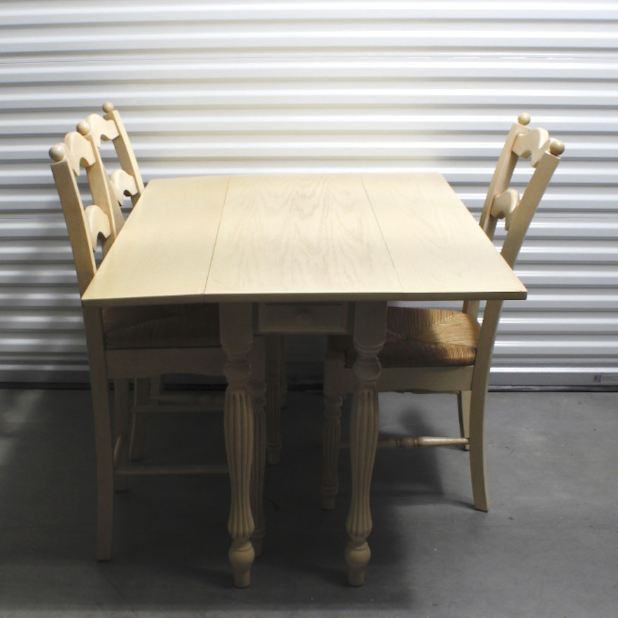 Country Style Dining Table And Chairs: French Country Style Drop Leaf Dining Table And Chairs