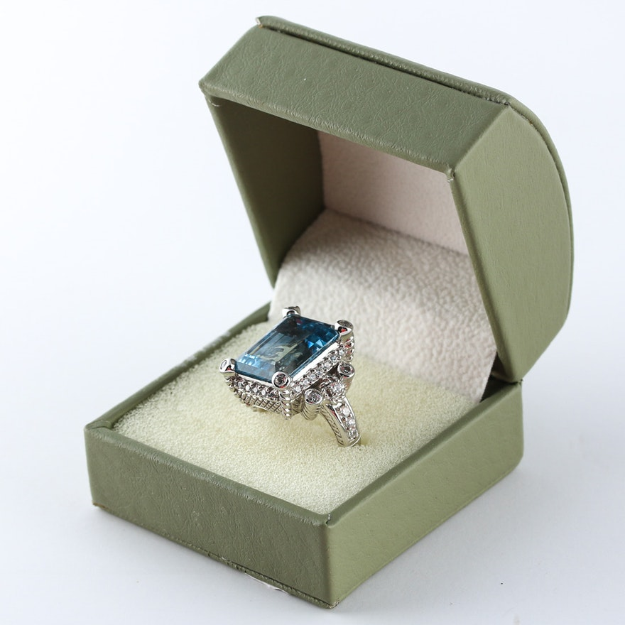a8fbaf1b7 Judith Ripka Blue Topaz and Sterling Ring : EBTH