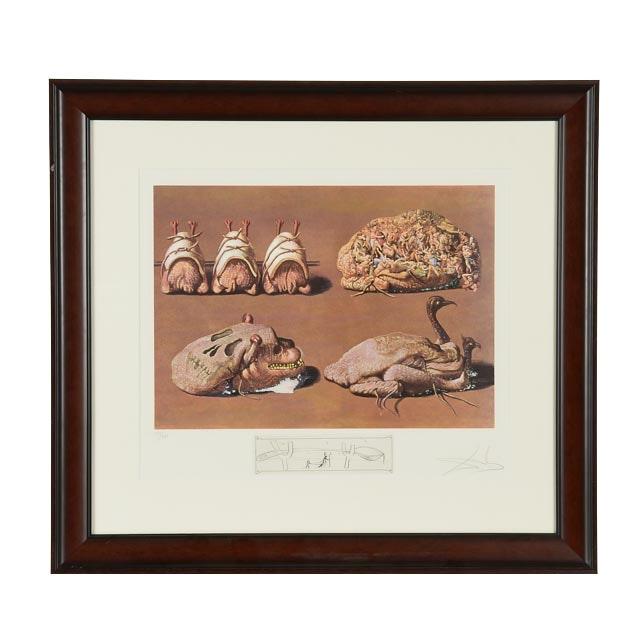 """Salvador Dalí Original LE Mixed Media Print """"Les Caprices Pincés Princiers"""""""