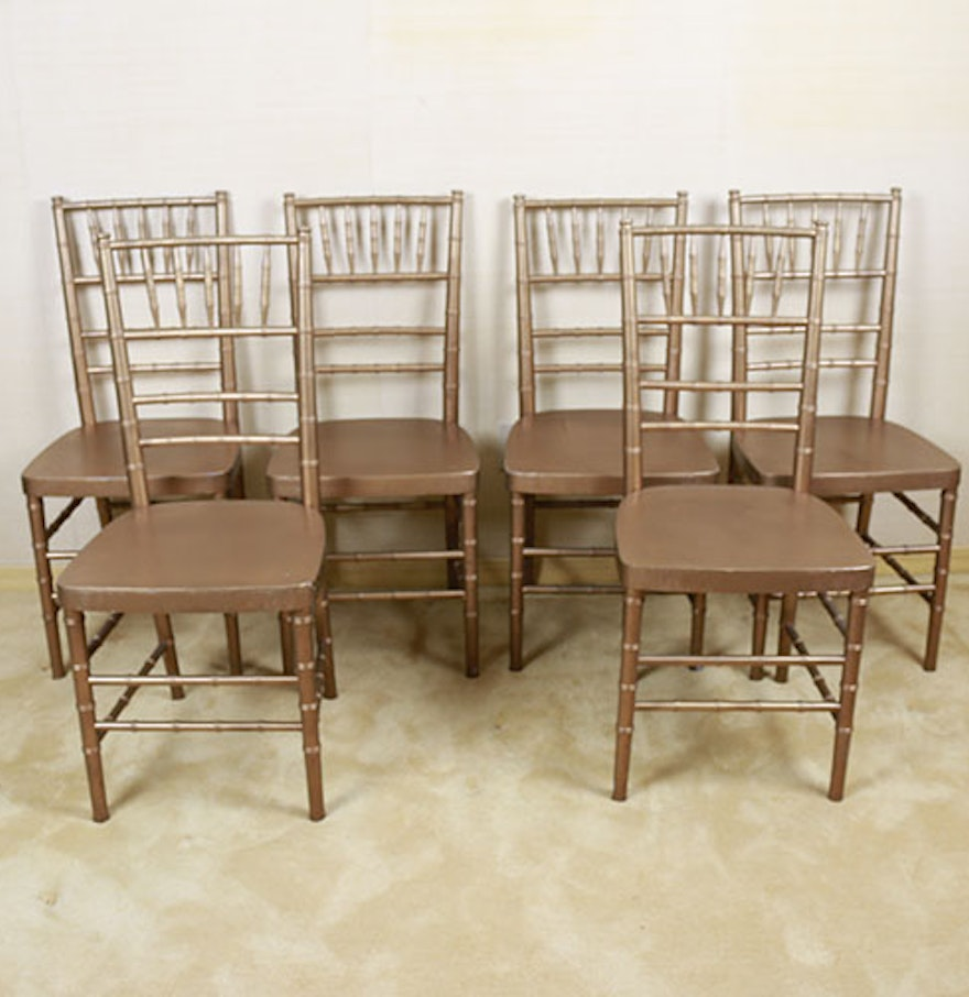 Set Of Six Wooden Faux Bamboo Chairs Ebth