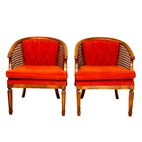 Pair Of Vintage Barrel Back Cane Chairs ...