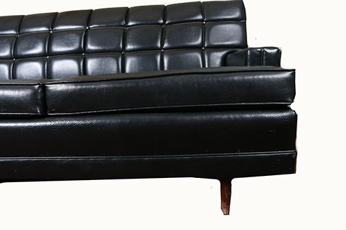 Black Leather Quilted Sofa Ebth