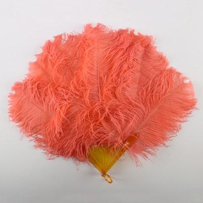 1920s Pink Ostrich Feather Fan