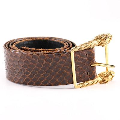 Christian Dior Brown Leather Snakeskin Belt