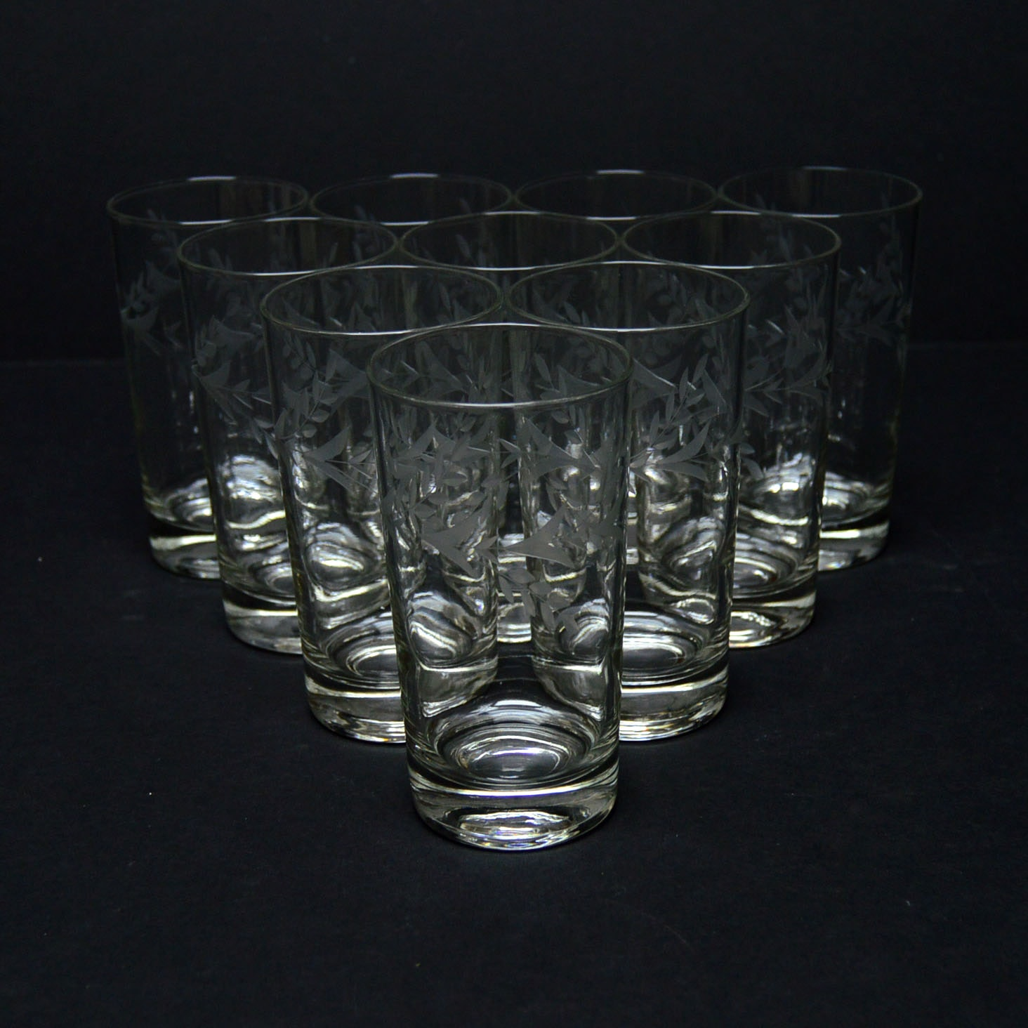 Etched Floral Highball Glasses
