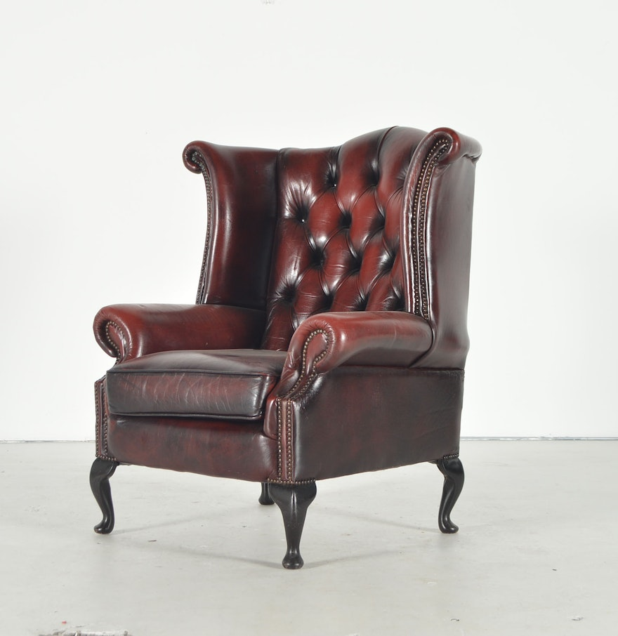 Red Leather Wingback Chair For Sale: Burgundy Leather Wingback Chair : EBTH